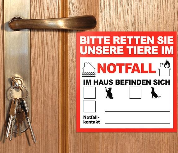Allein-Daheim Notfall-Aufkleber von Außen auf Tür