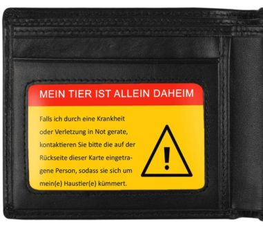Allein-Daheim Notfall-Kontaktkarte in Geldboerse b
