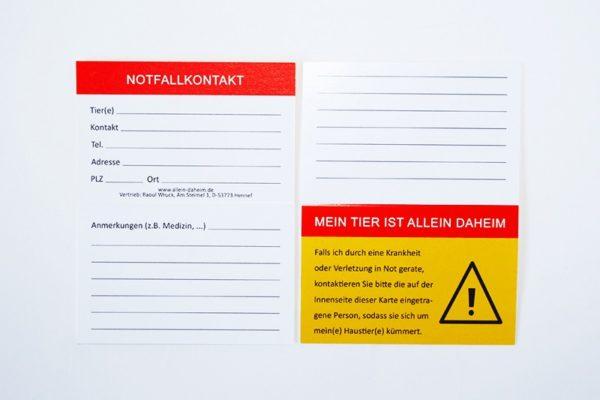 Allein-Daheim große Notfall-Kontaktkarte